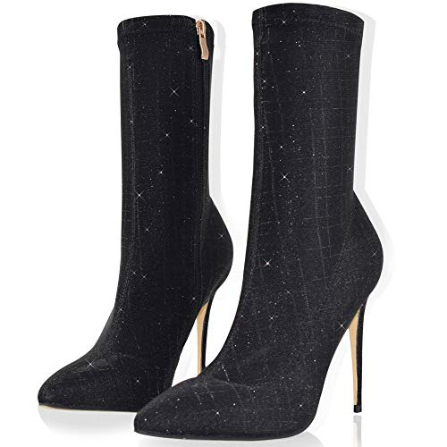 Vivi Women`s Black Booties Stretch Lycra Stiletto High Heels Closed Pointed Toe Ankle Boots Size ()
