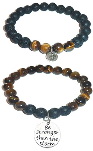 Aromatherapy Women's Tiger Eye & Black Lava Essential Oil Diffuser Beads Charm Stretch Bracelet Gift Set. (Be Stronger Than The Storm)