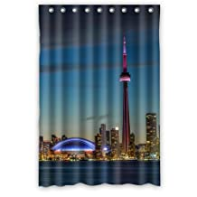 Bathroom Polyester Vintage Bath Curtain Beautiful Scenery Toronto Shower Curtain Waterproof With Hooks 122x182cm