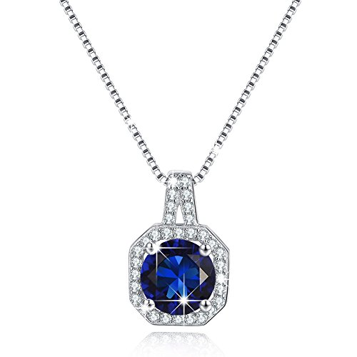 BSTONE Solitaire Silver Necklace Jewelry Cubic Zircon CZ Necklace Halo Pendant Simulated Blue Sapphire September Birthstone mom Gifts Best Gift for Mother's Day Mother's Day Jewelry Gift Deep Sterling Silver Tourmaline Pendant