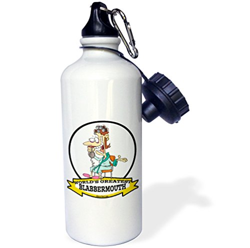 3Drose Wb 102975 1  Funny Worlds Greatest Blabbermouth Women Cartoon  Sports Water Bottle  21 Oz  White