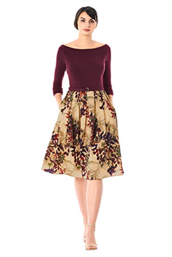 eShakti FX Floral Print Belted Mixed Media Dress Ancho Chile/Beige Multi