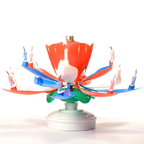 Red White Blue Lotus Birthday Candles - Burn Time: 8-10 Minutes - Wedding Event and Home Decor