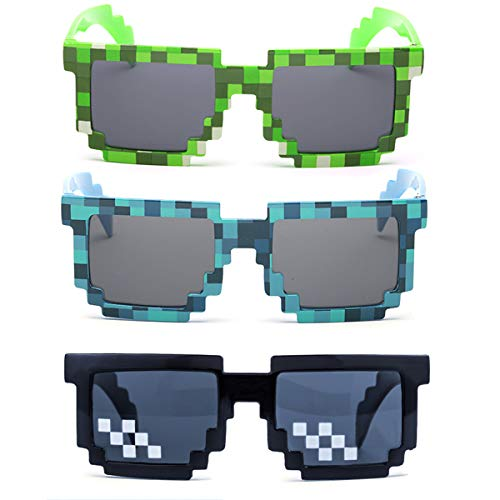 kilofly 3pc 8-Bit Pixel UV Protect Gamer Sunglasses Adult Kids Party ()