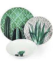Risparmia su Excelsa Barrio de Cactus Servizio Piatti 18 Pezzi, Porcellana, Verde, 6 unità e molto altro