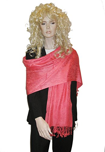EVENING SHAWL (SILK SHAWL IN JACQUARD PATTERN) available in 14 vibrant colors. (CORAL)