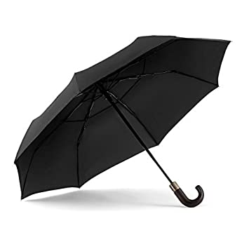 9fa71fc21623f Amazon.com: ShedRain WindPro Vented Auto Open Auto Close Compact Umbrella  with Curved Wood Handle