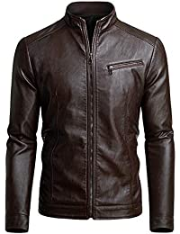 Mens Casual Motorcycle Faux Leather Jacket