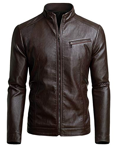 Fairylinks Men's Casual Motorcycle Faux Leather Jacket, Chocolate, Large