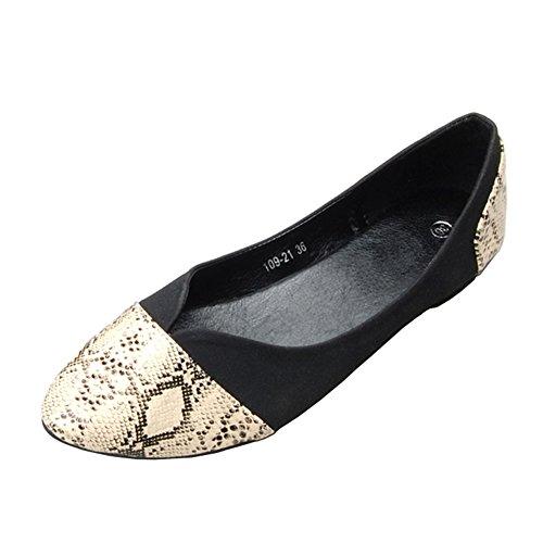 fereshte Women's Comfort Faux Leather Pointed Toe Flat Pump Ballet Shoes No.278 Black