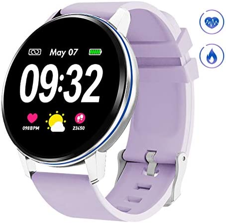 GOKOO Smart Watch for Women with Heart Rate Blood Pressure Sleep Monitor Notification Waterproof Remote Camera Music Control Calorie Step Fitness Activity Tracker Reminder Full Touch Purple