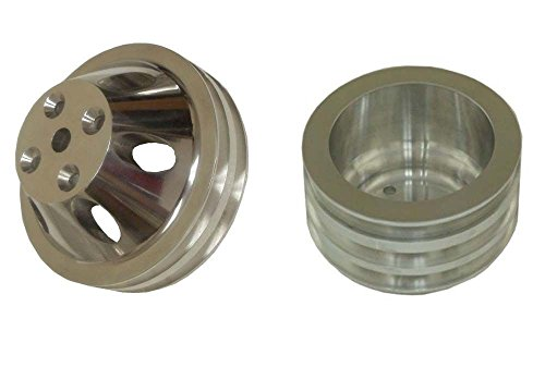 For SBC 305 350 400 Small Block Chevy 3/2 Groove Polished Pulley Set Long Water Pump by DEMOTOR (Image #1)