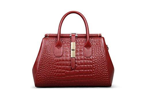 Grain Wine Crocodile Top Genuine Shoulder Leather Tote Ladies' handle Red Bag Hermiona BqCxwgEH