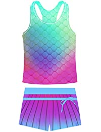 Belovecol Girls Rash Guard Swimsuits Two Piece Tankini Bathing Suit Stylish Mermaid Fish Scales Boyshort Swimwear 4-5T,Purple