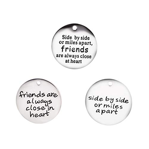 Stainless Steel Inspiration Words Charms Friend Series Craft Supplies Bracelet Bangle Charms Message Verses Charm Pendant Jewelry Findings Making Accessories for DIY Necklace Bracelet ()