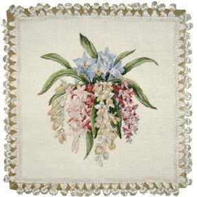 Deluxe Pillows Delicate Orchids - 18 x 18 in. needlepoint - Needlepoint Orchid Pillow