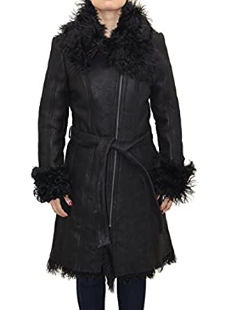 Ladies Black Leather Shearling Sheepskin Large Fur Collar