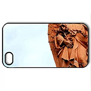 angel statue - Case Cover for iPhone 4 and 4s (Monuments Series, Watercolor style, Black)