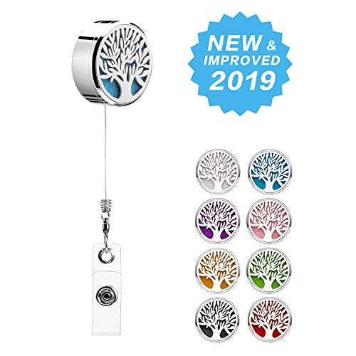 Strong Retractable Badge Holder Reel Clip ID Essential Oil Diffuser Aromatherapy Badge Clip with 2 Plastic Name Card Heavy Duty Cute ID RN Badge Holder for Nurse Teacher Tree of Life