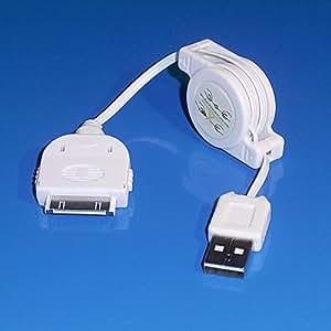 """AVE-A"" blanca 2,0 USB con enrollador de cable de datos y cable de cierre blanco para iPhone 2 G 3 G 4 44 4S iPad 1 2 iPod mini touch classic"