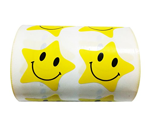 Wootile Yellow Smiley Face Star Stickers, 1.2 Inch Wide, 500 Star Sticker Labels