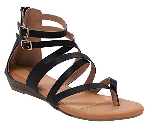 Cambridge Select Womens Open Toe Crisscross Buckled Ankle Strappy Low Wedge Sandal Black Pu S0zqHElB