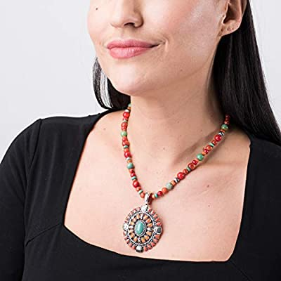 "American West Sterling Silver & Green Turquoise, Red Coral, Orange Spiny Oyster 2 ¾"" Shield Enhancer on Beaded Necklace"