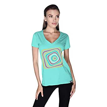 Creo Abstract 03 Retro T-Shirt For Women - S, Green