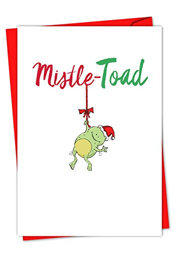 12 'It Was the Pun Before - Frog' Boxed Christmas Cards w/ Envelopes 4.63 x 6.75 inch, Cute Froggy Cartoon Christmas Notes, Adorable Toad Pun Holiday Cards, Fun Christmas Stationery C5550EXSG-B12