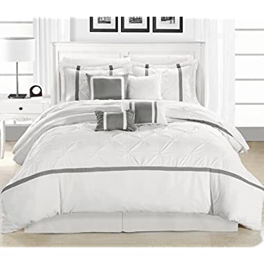 Chic Home Vermont 8-Piece Comforter Set, White/Silver, King