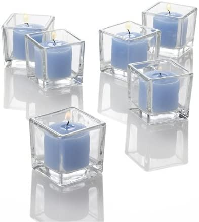 Richland 144 Light Blue Votive Candles and 144 Square Votive Holder
