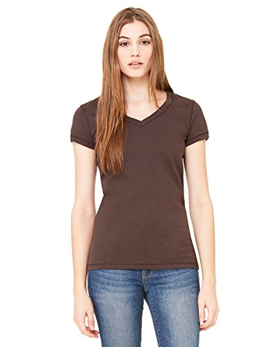 (Bella Women's V-Neck Jersey T-Shirt B6005, 2X-Large, Chocolate)