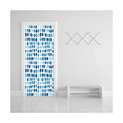 HappyShopDecoration Door Decal Wall Murals 3D Vinyl Wallpaper Stickers for Room Decor,30.3x78.7 inches,Blue