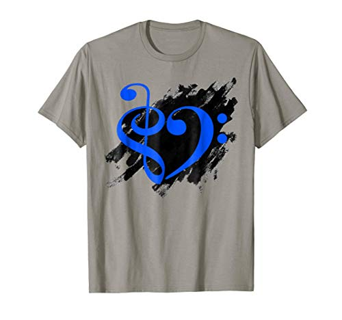 Treble Clef Bass Clef Royal Blue Musical Heart Grunge Bassist T-Shirt