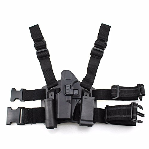 (LIVIQILY Tactical Glock Leg Holster Left Hand Paddle Thigh Belt Drop Pistol Gun Holster w/Magazine Torch Pouch for Glock 17 19 22 23 31 (Black))