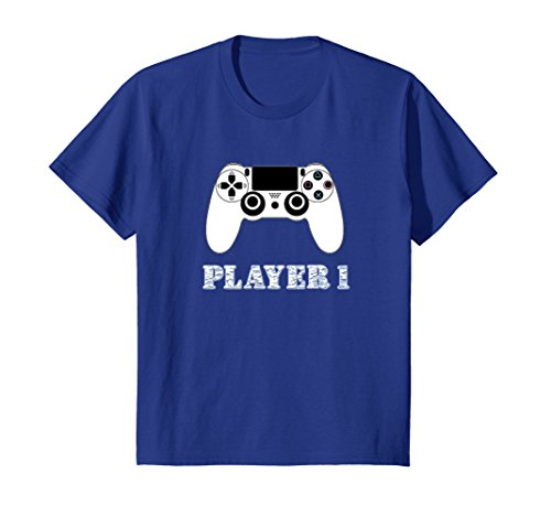 Kids PLAYER 1 VIDEO GAME CONTROLLER T-SHIRT 12 Royal Blue