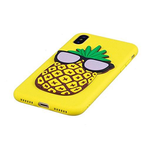 iPhone X Coque Case , Mode 3D Ananas Ultra-mince Soft Poids Léger Silicone Doux TPU Étanche Aux Chocs Housse Gel Etui Case Cover pour Apple iPhone X