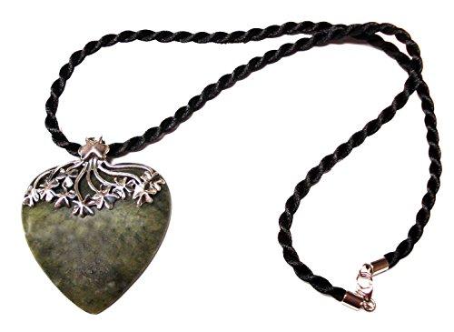 Irish Connemara Marble: Heart w/ Sterling Silver Shamrocks Necklace