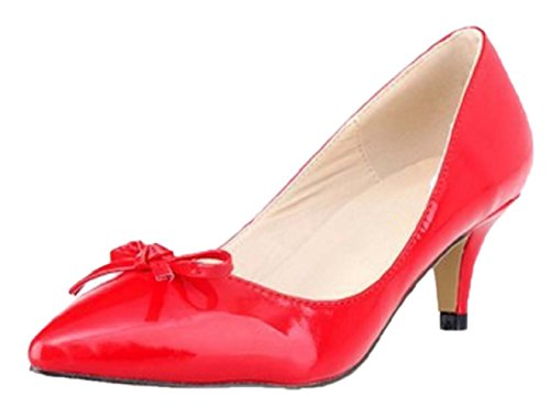 HooH Women's Pointed Toe Sweet Bowknot Kitten Pumps-Red-37 tlCq8Nm1h