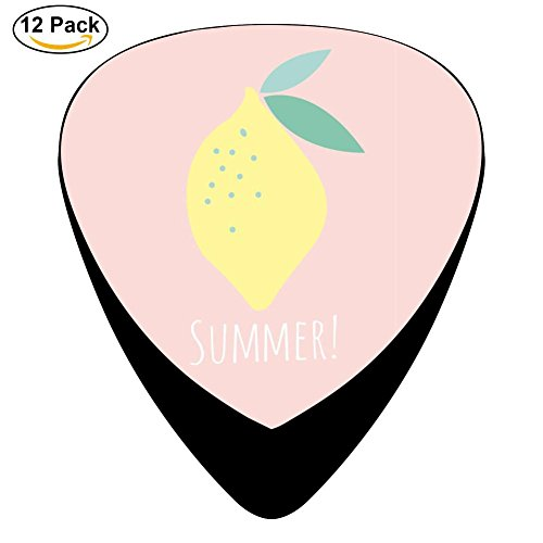 Citrine Lemon Guitar Picks Guitar Musical Instruments Accessories (12pc) Celluloid Paddles Plectrums 0.46mm/0.71mm/0.96mm for Thin Medium Heavy Gauges Mini Gift