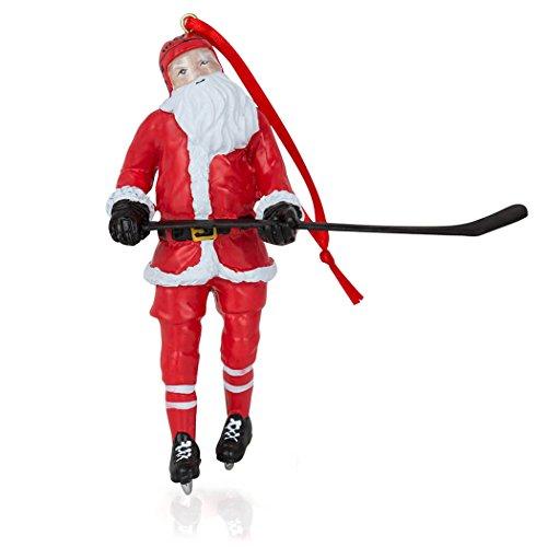 ChalkTalkSPORTS Santa Hockey Player Christmas Ornament | Guys Hockey Holiday Ornament