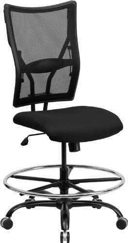 Adj Stool - Armless Big & Tall 400lb Mesh Back Home Office Drafting Bar Counter Stools Chairs W-adj. Lumbar Support Seat Height 20-26
