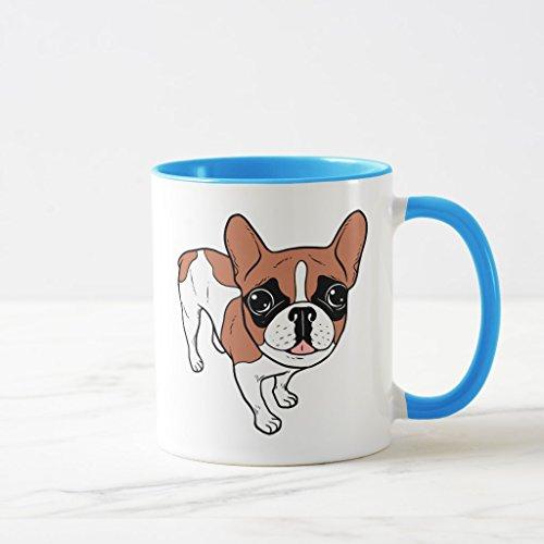 Bulldog French Pied (Zazzle Black Mask Red Pied French Bulldog Travel Mug, Light Blue Combo Mug 11 oz)
