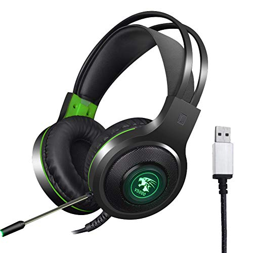 Tzp5ChB Gaming Headphone,Headset with Mic Wired PC Laptop V5000 7.1CH - 3.5mm