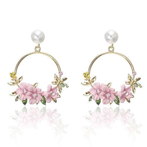Ravewan Shop Ear Personality Flower Stud Fashion Jewelry Pearl Earrings Women Temperament