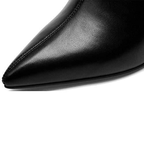 éclair Chaussures ZPEDY Sauvage Hauts Talons Pointues pour Confort Femmes Fermeture Mode Black 0Wq7dq