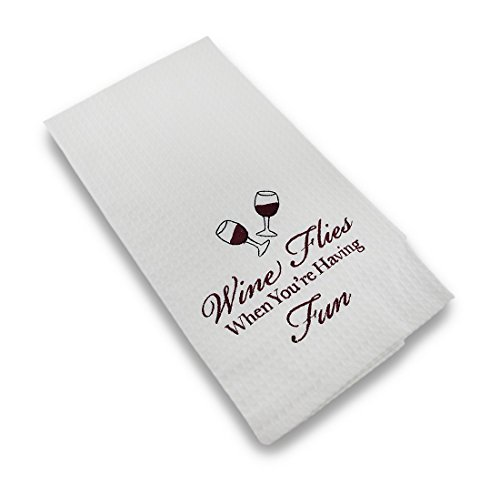 Embroidered-Waffle-Weave-Wine-Flies-Decorative-Hand-Towel