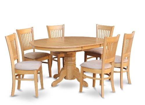 AVVA7-OAK-C 7 Pc Dining set-Dining Table with Leaf and 6 Dinette Chairs.