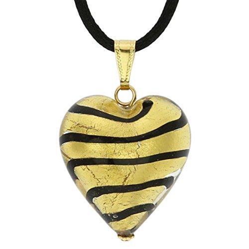 Murano Glass Heart Pendant - Striped Gold by GlassOfVenice