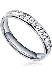 TIGRADE Jewelry 3mm Stainless Steel Eternity Ring with Clear White Cubic Zirconia